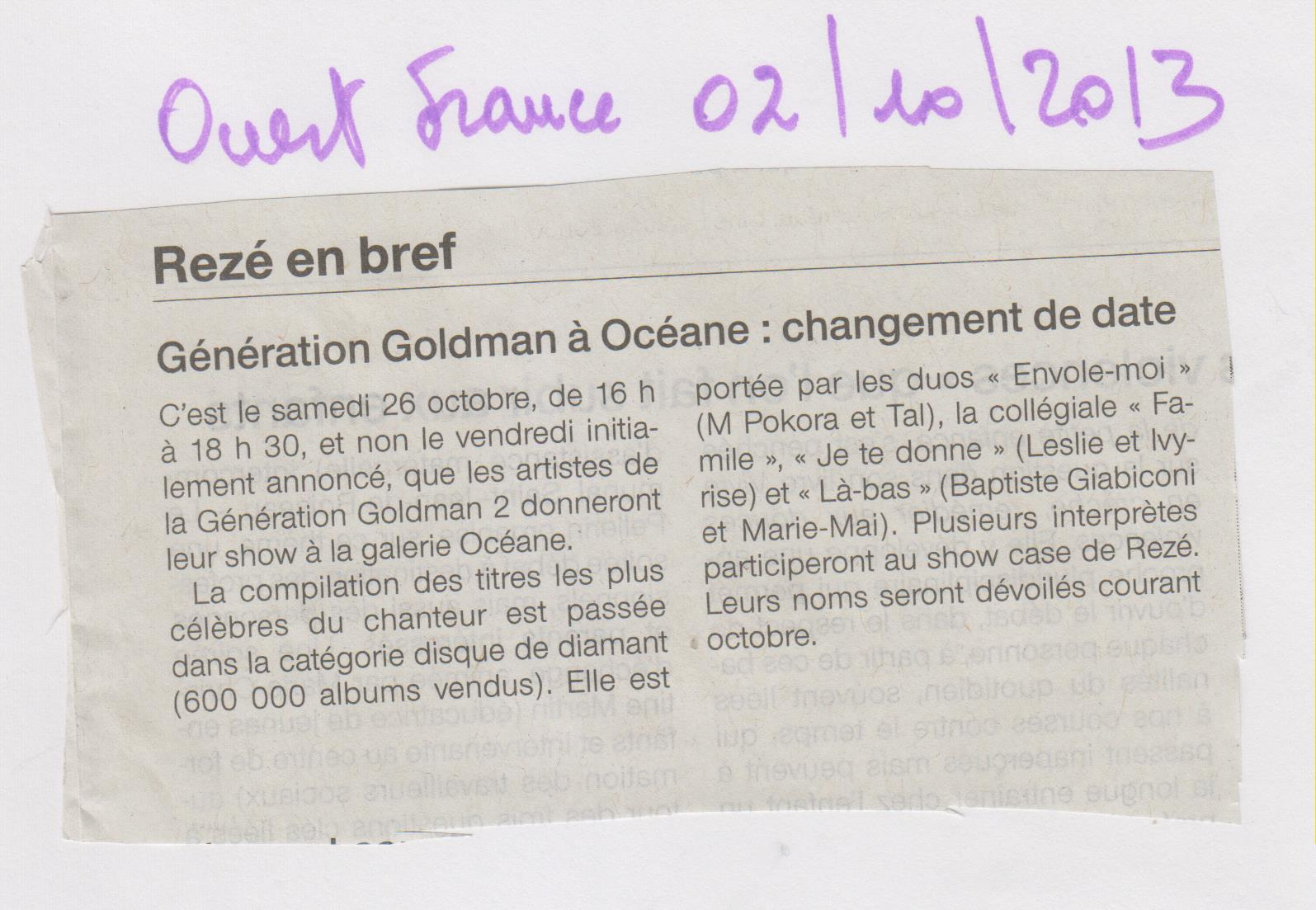 02.10.2013 - OUEST FRANCE - GENRATION GOLDMAN