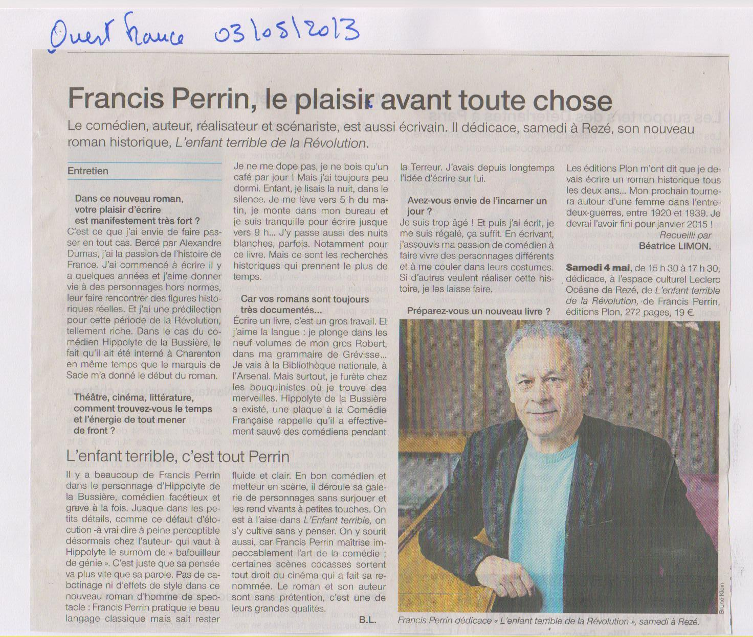 03.05.2013 - FRANCIS PERRIN - OUEST FRANCE