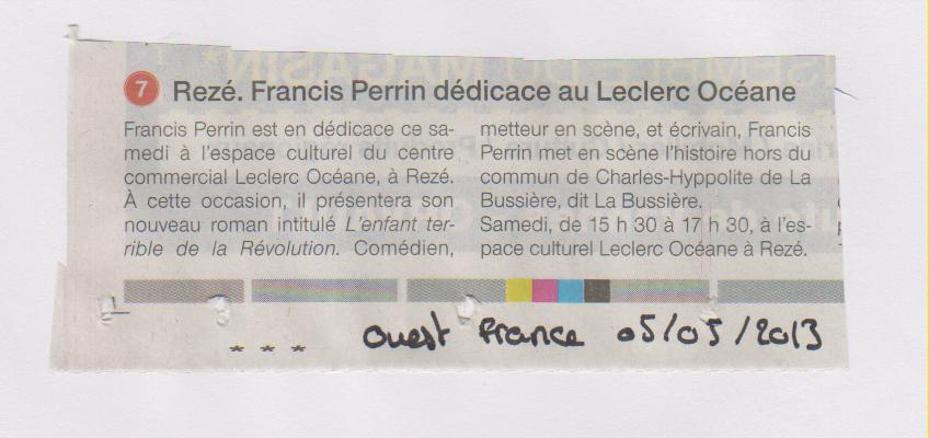 05.05.2013 - OUEST FRANCE - FRANCIS PERRIN