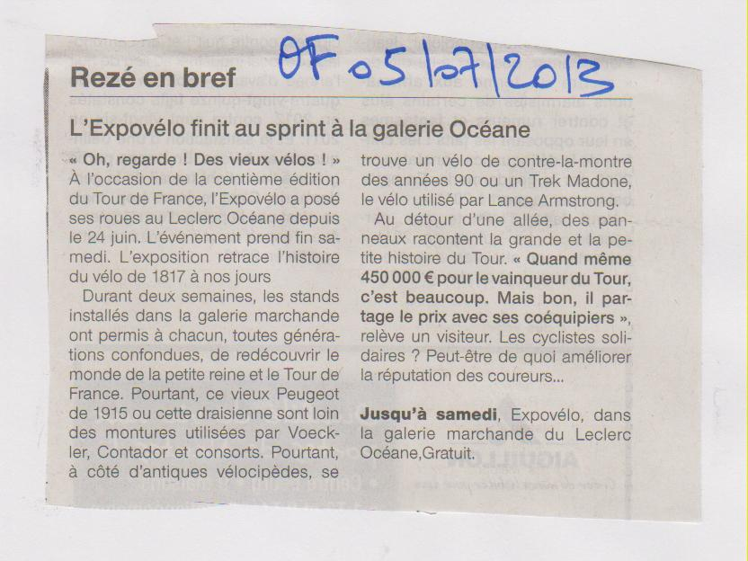 05.07.2013 - OUEST FRANCE - EXPO VELO