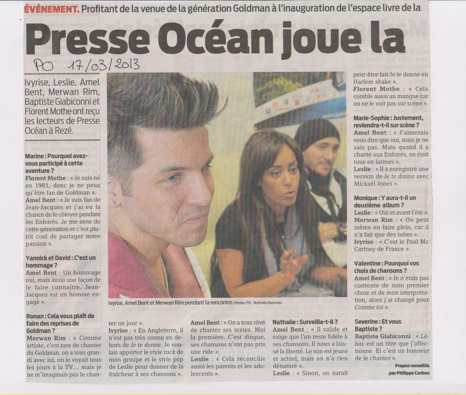 17-03-2013 PRESSE OCEAN INTERVIEW GENERATION GOLDMAN