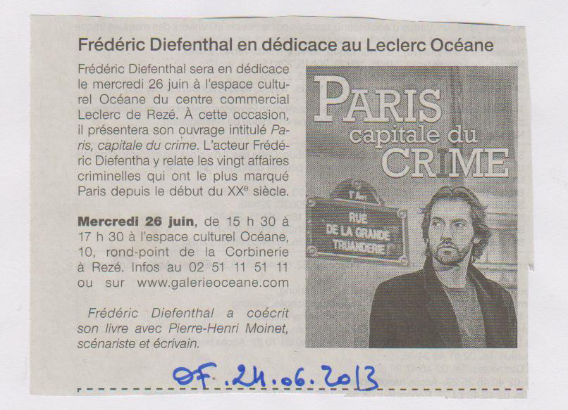 24.06.2013 - OUEST FRANCE - FREDERIC DIEFENTHAL
