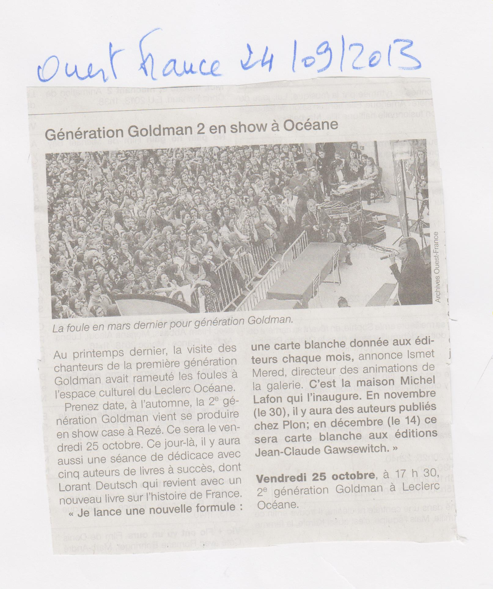 24.09.2013 - OUEST FRANCE - GENERATION GOLDMAN 2