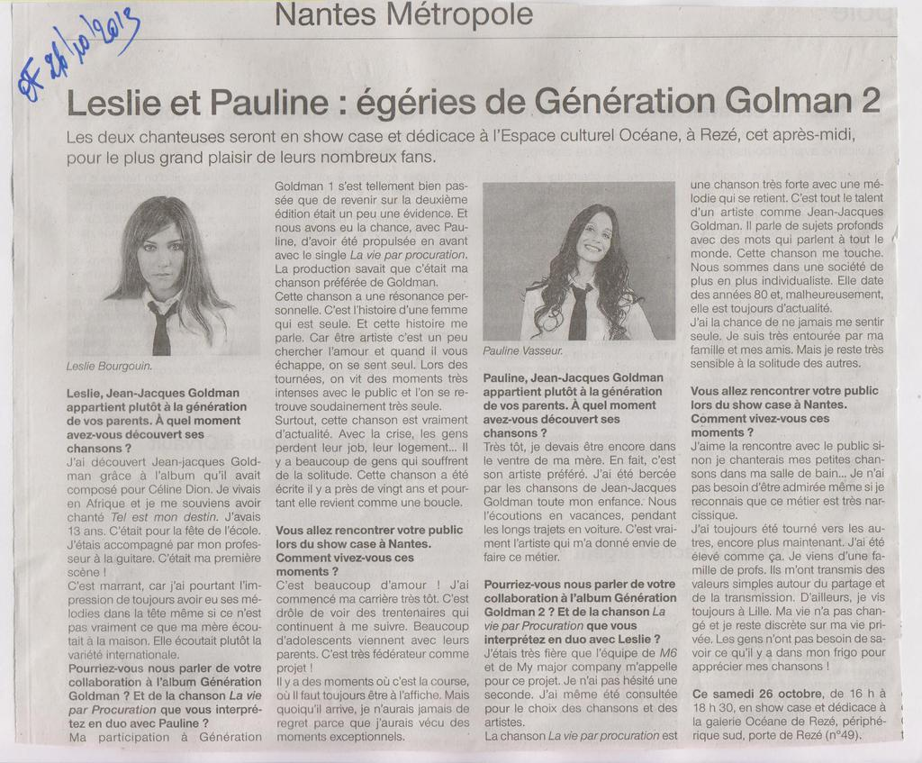 26.10.2013 - GENERATION GOLDMAN 6 OUEST FRANCE 2
