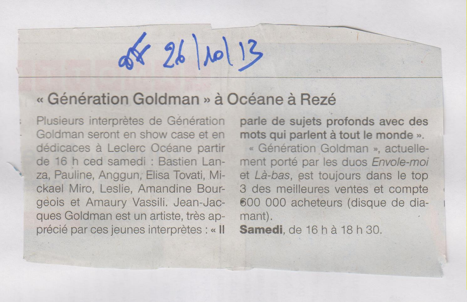 26.10.2013 - GENERATION GOLDMAN - OUEST FRANCE