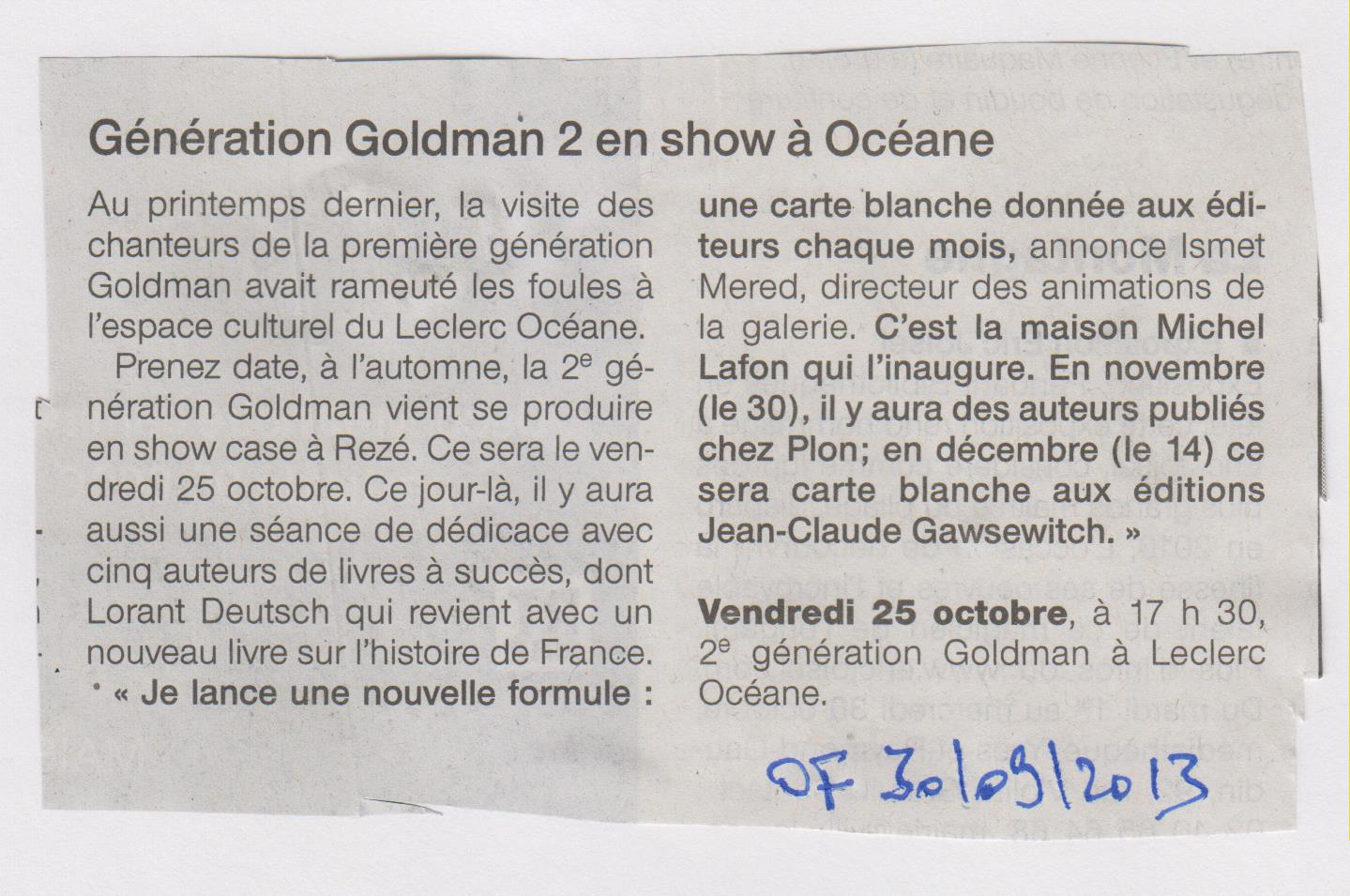 OUEST FRANCE - 30.09.2013 - GENERATION GOLDMAN 2