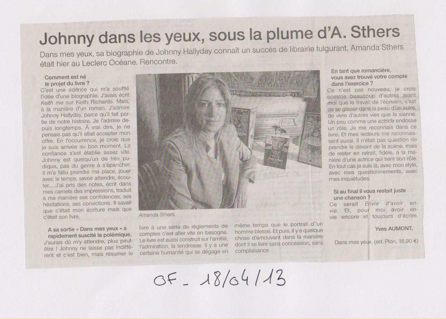OUEST FRANCE - AMANDA STHERS - 18-04-13